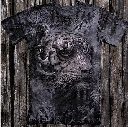 «Тигр брутальный» тотальная футболка мужская, фото 2