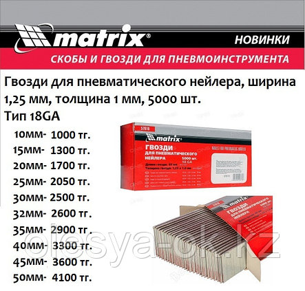 Гвозди для нейлера 40 мм,18GA. 5000 шт. MATRIX, фото 2