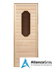 Дверь для бани/сауны LK липа, восьмиугольное стекло 1900x700