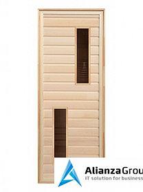 Дверь для бани/сауны LK липа с 2-мя стеклами 1900x700