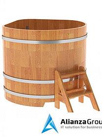 Купель для бани и сауны Bentwood угловая из сращенных ламелей лиственницы (1,31Х1,31 H=1,1)