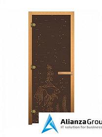 Дверь для бани/сауны LK ДС Бронза Рыбка 1900х700мм (3 петли)