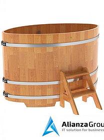 Купель для бани и сауны Bentwood овальная из сращенных ламелей лиственницы (1,08Х1,75 H=1,1)