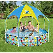 Каркасный бассейн круглый 244х51 см с навесом, Bestway 56432