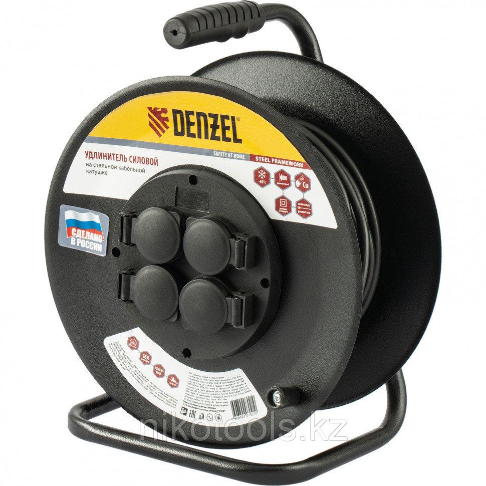 Удлинитель силовой на стальной катушке, ПВС 3х2,5 мм, 20м, 4 розетки, 16А, тип УХз16// Denzel