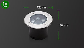 Грунтовый светодиодный светильник 6Вт Теплый белый