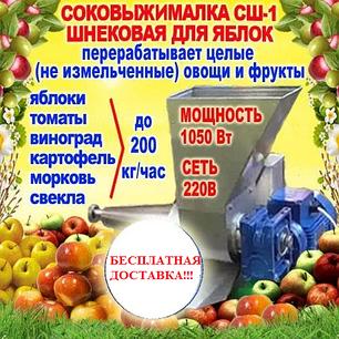 Шнековая соковыжималка СШ-1 220В, для яблок (до 200 кг/ч) и других фруктов не требующая периодической очистки, фото 2