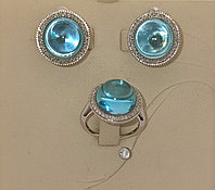Золотой комплект с бриллиантами и топазом