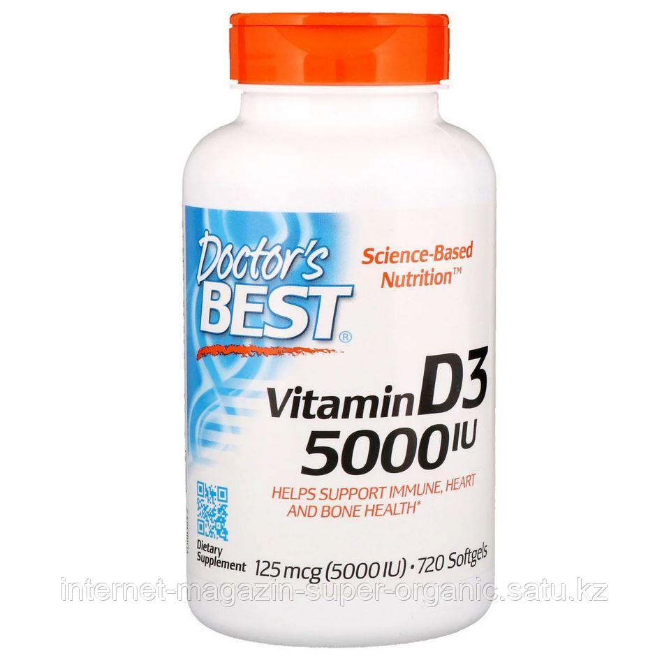 Витамин Д3 (Vitamin D3), 5000 МЕ (5000 IU), 125мкг, 720 капсул, Doctor's Best