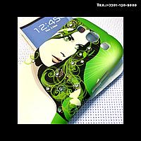 Чехол-крышка на телефон Samsung Galaxy S3/i9300 девушка на зеленом фоне