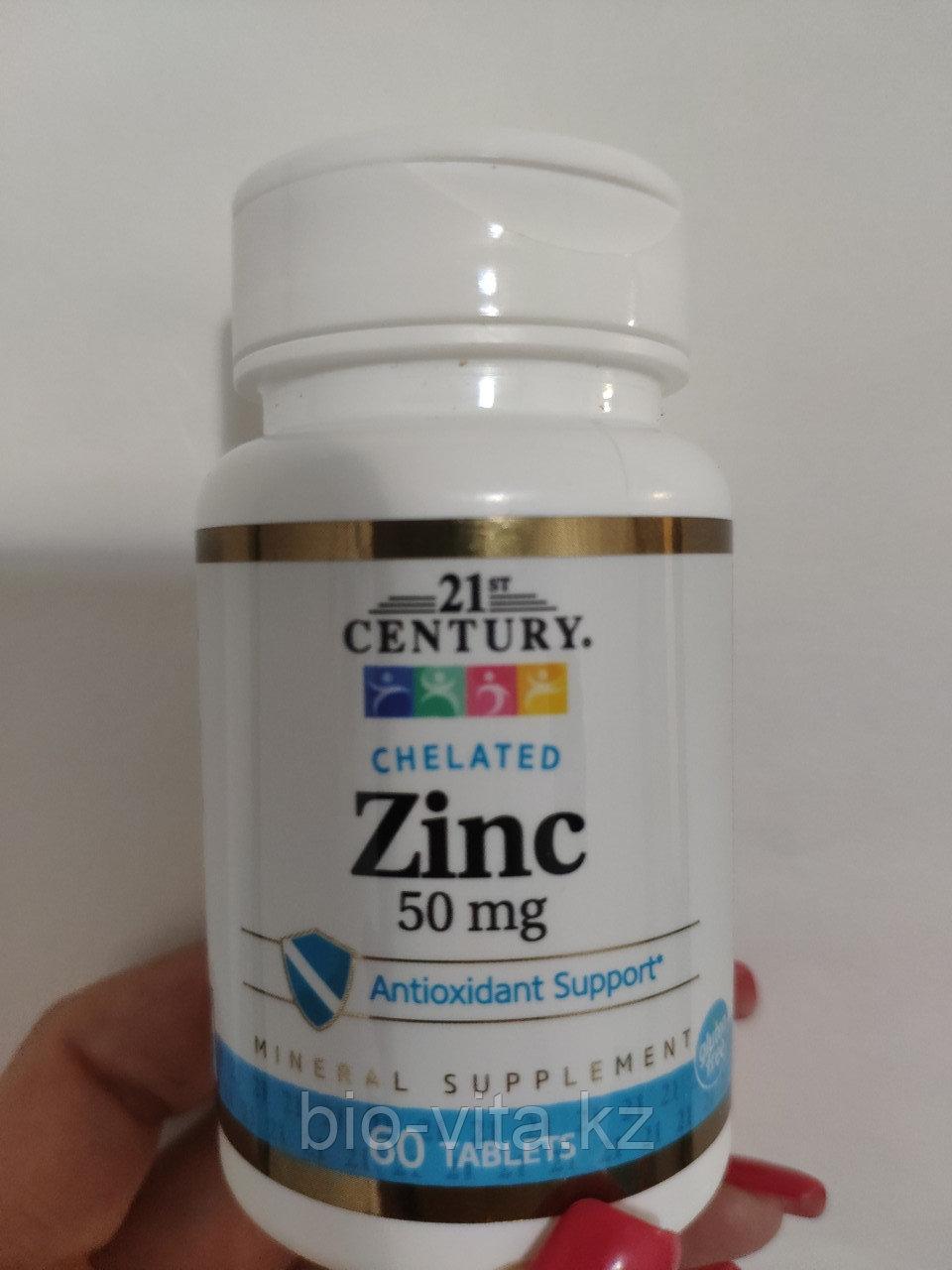 21st Century, Цинк хелат, 50 мг, 60 таблеток.