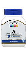 21 century, Витамин А, 10 000 МЕ, 100 капсул