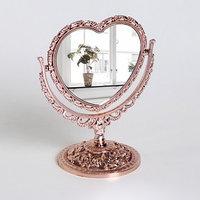 Зеркало настольное 'Ажур', двустороннее, с увеличением, зеркальная поверхность 10,5 x 9 см, цвет бронзовый