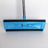 Швабра плоская Доляна, телескопическая стальная ручка 79-120 см, насадка из микрофибры 38×11 см, цвет голубой, фото 4