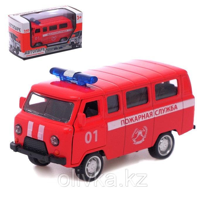 Автобус металлический «Пожарная служба», инерция, открываются двери