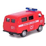 Автобус металлический «Пожарная служба», инерция, открываются двери, фото 3