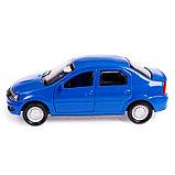 Машина металлическая Renault Logan, открываются двери, инерционная, цвет синий, 12 см, фото 2