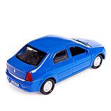 Машина металлическая Renault Logan, открываются двери, инерционная, цвет синий, 12 см, фото 3