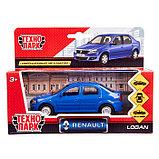Машина металлическая Renault Logan, открываются двери, инерционная, цвет синий, 12 см, фото 5