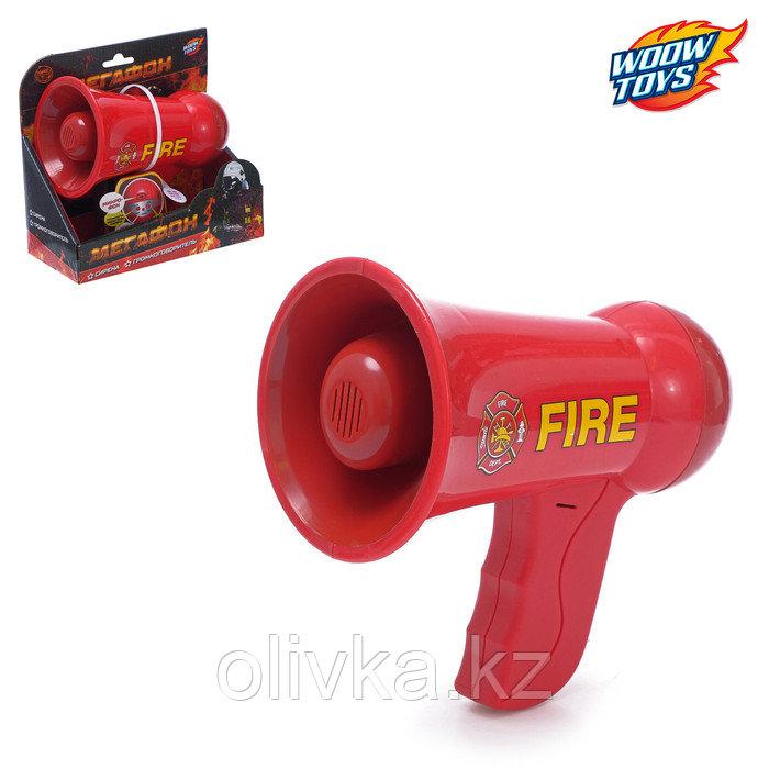 Мегафон «Пожарный», 2 режима: сирена, громкоговоритель, работает от батареек