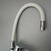 Смеситель для кухни гибкий Кристалл 5539-55 C Белый