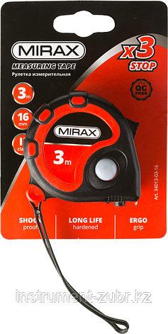 Рулетка MIRAX, 3 стопора, двухкомпонентный пластиковый корпус, 3мх16мм, фото 2