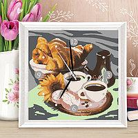 Картина по номерам - часы «Завтрак с круасанами», 30х30 см