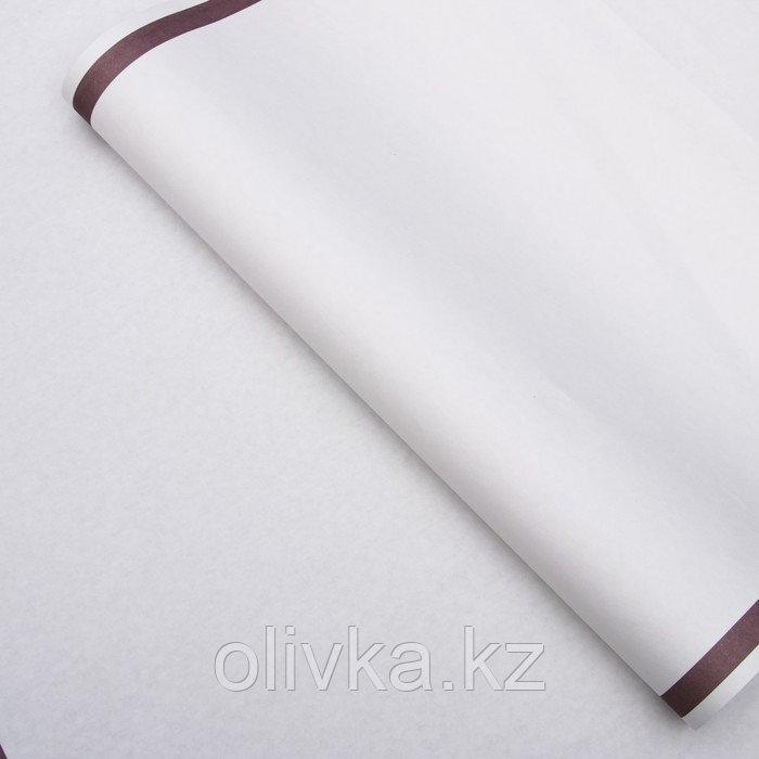 """Бумага упаковочная, """"Рамка"""", крафт белый, сиреневая, 50 х 70 см"""