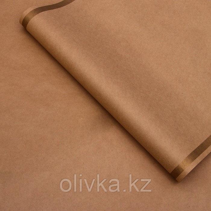 """Бумага упаковочная, """"Рамка"""", крафт, золотая, 50 х 70 см"""