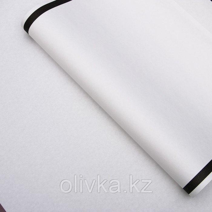 """Бумага упаковочная, """"Рамка"""", крафт белый, черная, 50 х 70 см"""