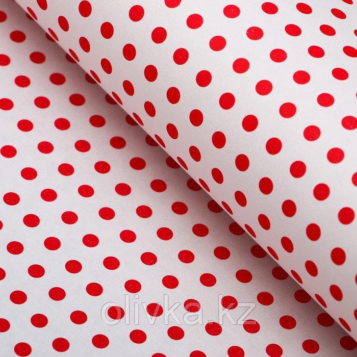 """Бумага упаковочная, """"Горох малый"""", крафт белый, красная, 50 х 70 см"""