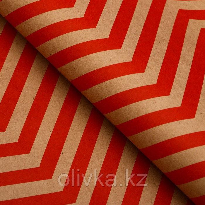 """Бумага упаковочная, """"Зиг-Заг"""", крафт, красная, 50 х 70 см"""
