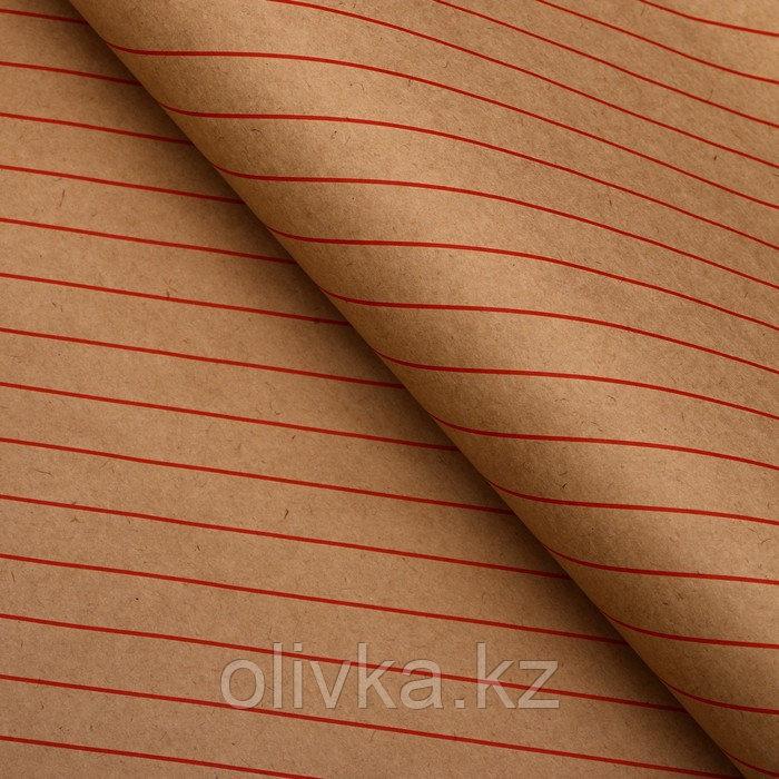 """Бумага упаковочная, """"Люрекс"""", крафт, красная, 50 х 70 см"""