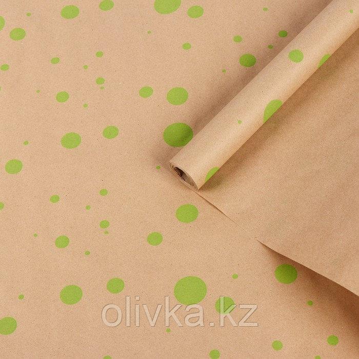 """Бумага упаковочная крафт """"Горошина крупная"""", салатовый на коричневом, 0,7 х 8,5 м, 70 г/м2"""