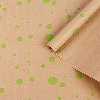 """Бумага упаковочная крафт """"Горошина крупная"""", салатовый на коричневом, 0,7 х 8,5 м, 70 г/м²"""