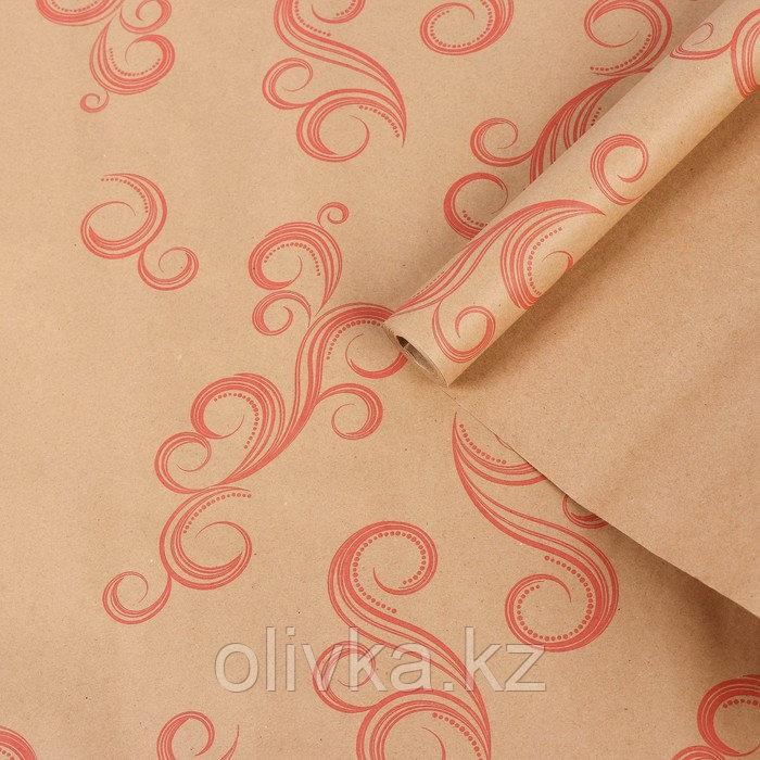 """Бумага упаковочная крафт """"Завитки"""", красный на коричневом, 0,7 х 8,5 м, 70 г/м2"""
