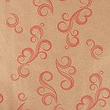 """Бумага упаковочная крафт """"Завитки"""", красный на коричневом, 0,7 х 8,5 м, 70 г/м2, фото 2"""