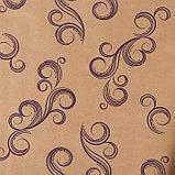 """Бумага упаковочная крафт """"Завитки"""", фиолетовый на коричневом, 0,7 х 8,5 м, 70 г/м2, фото 2"""