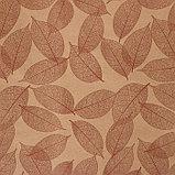 """Бумага упаковочная крафт """"Листья"""", коричневый на коричневом, 0,7 х 8,5 м, 70 г/м2, фото 2"""
