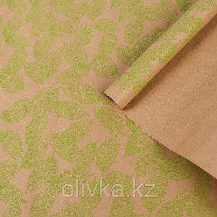 """Бумага упаковочная крафт """"Листья"""", салатовый на коричневом, 0,7 х 8,5 м, 70 г/м2"""