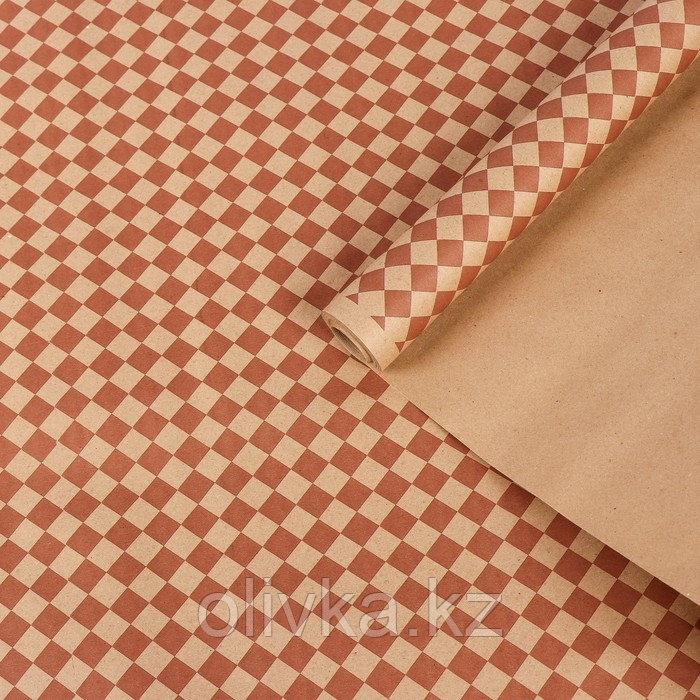 """Бумага упаковочная крафт """"Ромбы"""", коричневый на коричневом, 0,7 х 8,5 м, 70 г/м2"""