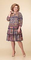Платье Дали-4347, сине-коричневые тона, 48