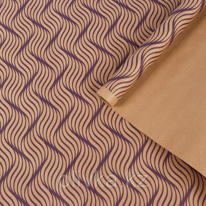 """Бумага упаковочная крафт """"Сюита"""", фиолетовый на коричневом, 0,7 х 8,5 м, 70 г/м2"""