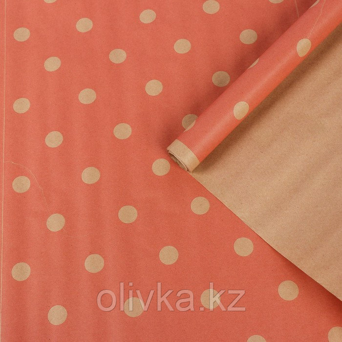 """Бумага упаковочная крафт """"Шик"""", красный на коричневом, 0,7 х 8,5 м, 70 г/м2"""