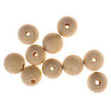 Бусины деревянные d=18 мм (набор 10 шт) без покрытия, фото 2