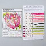 Набор для вышивания крестом «Розовый тюльпан» 11х11 см, фото 2
