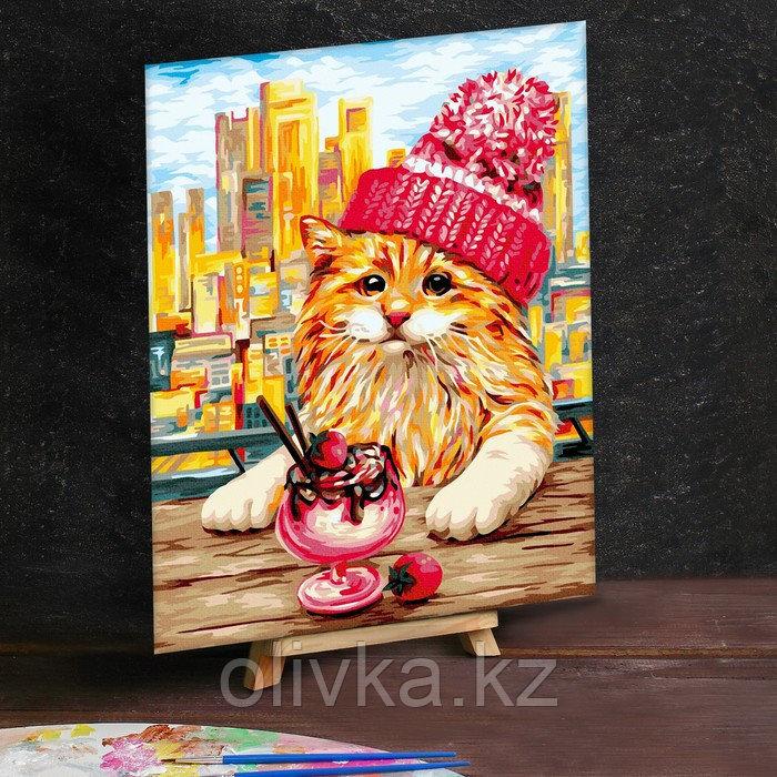 Картина по номерам на холсте 30×40 см «Рыжий кот в шапочке»