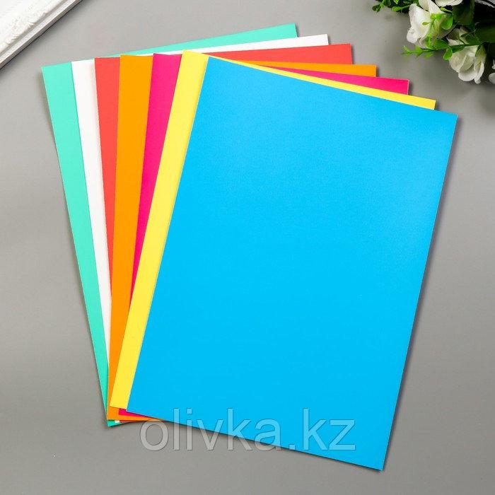 """Цветной картон """"Цветные полосы""""  мелованный, двухсторонний А4, набор 7шт"""