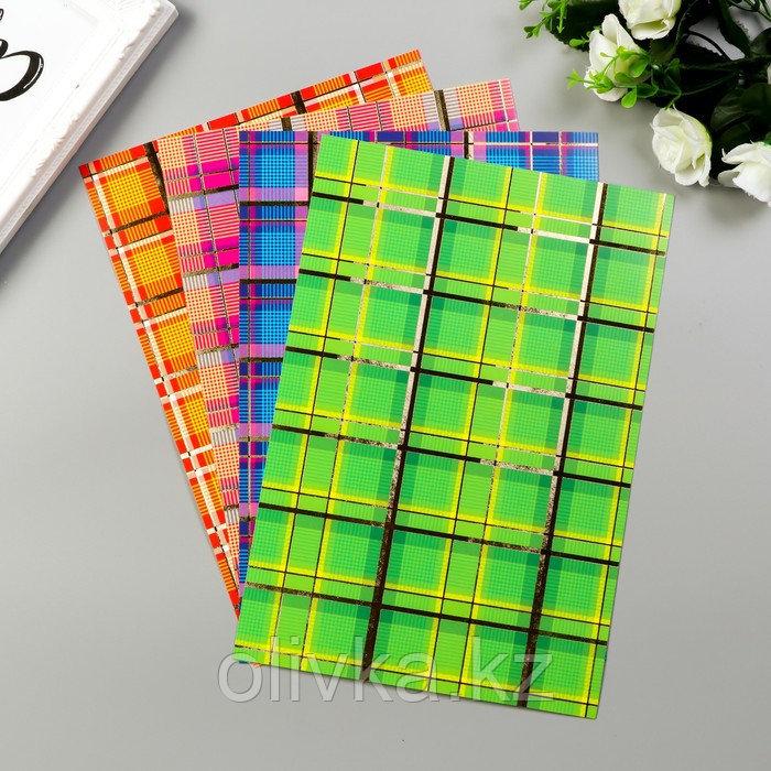 """Цветной картон """"Шотландка"""" поделочный с тиснением  А4, набор 4шт"""