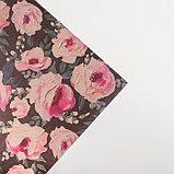 """Бумага упаковочная крафтовая """"Крупные цветы""""50х70 см, фото 3"""